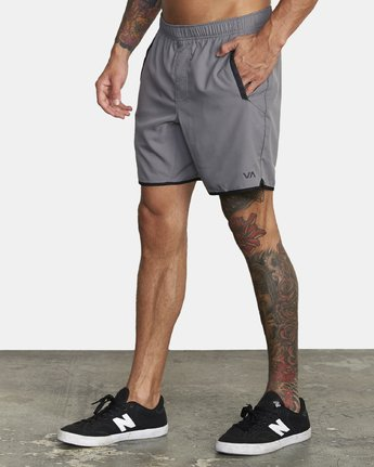 "2 YOGGER IV Recycled 17"" WORKOUT SHORT Grey V2091YGR RVCA"