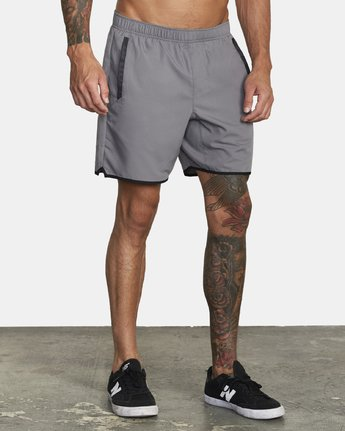 "6 YOGGER IV Recycled 17"" WORKOUT SHORT Grey V2091YGR RVCA"