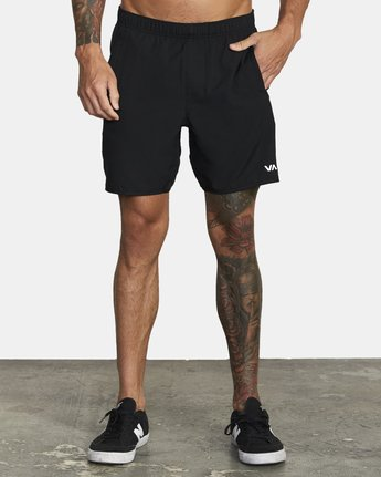 "3 YOGGER STRETCH ATHLETIC SHORTS 17"" Black V2103RYS RVCA"