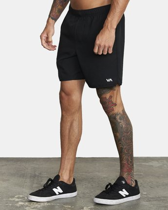 "2 YOGGER 17"" STRETCH WORKOUT SHORT Black V2103RYS RVCA"