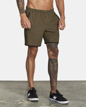 "5 YOGGER 17"" STRETCH WORKOUT SHORT Green V2103RYS RVCA"