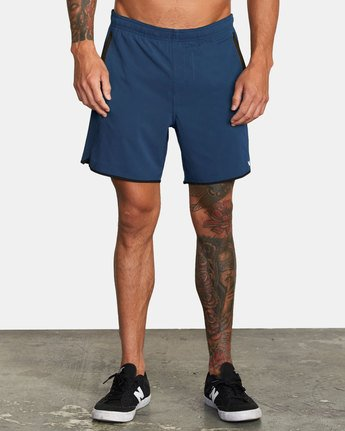"1 YOGGER LINED ATHLETIC SHORTS 17"" Blue V2113RYL RVCA"