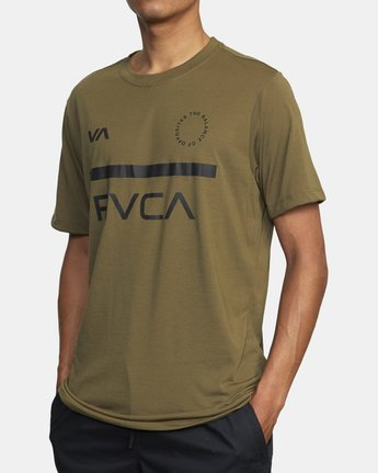 3 MID BAR SHORT SLEEVE TEE Green V4043RMI RVCA