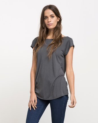 1 Label Cowl Back T-Shirt Grey W136J01L RVCA