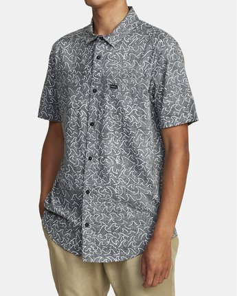 7 Oblow Waves - Short Sleeve Shirt for Men Black W1SHIDRVP1 RVCA