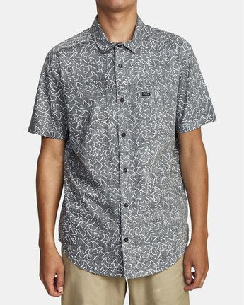 1 Oblow Waves - Short Sleeve Shirt for Men Black W1SHIDRVP1 RVCA
