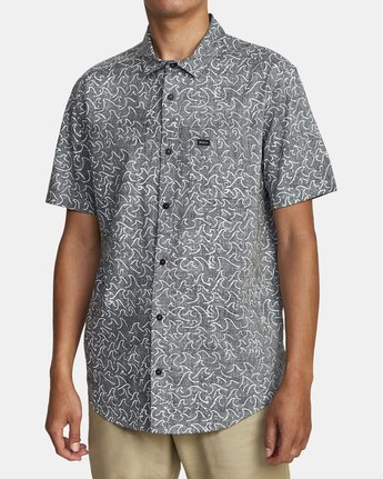 4 Oblow Waves - Short Sleeve Shirt for Men Black W1SHIDRVP1 RVCA