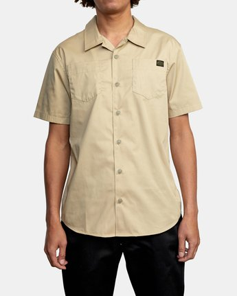 2 Recession Collection Day Shift - Short Sleeve Shirt for Men Green W1SHRSRVP1 RVCA