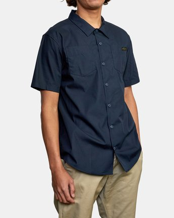 6 Recession Collection Day Shift - Short Sleeve Shirt for Men Blue W1SHRSRVP1 RVCA