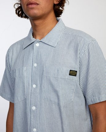3 Recession Collection Day Shift Stripe - Short Sleeve Shirt for Men Blue W1SHRXRVP1 RVCA