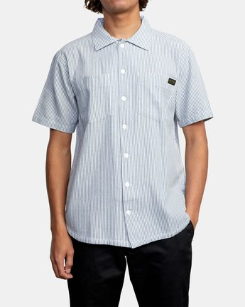 1 Recession Collection Day Shift Stripe - Short Sleeve Shirt for Men Blue W1SHRXRVP1 RVCA