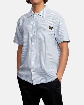 4 Recession Collection Day Shift Stripe - Short Sleeve Shirt for Men Blue W1SHRXRVP1 RVCA