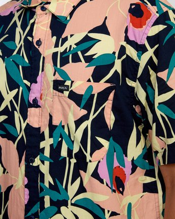3 Bamboo Floral - Short Sleeve Shirt for Men Blue W1SHRZRVP1 RVCA