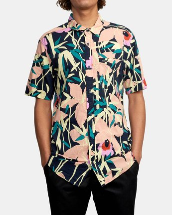 1 Bamboo Floral - Short Sleeve Shirt for Men Blue W1SHRZRVP1 RVCA