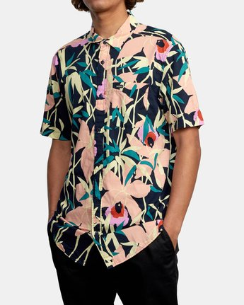 4 Bamboo Floral - Short Sleeve Shirt for Men Blue W1SHRZRVP1 RVCA