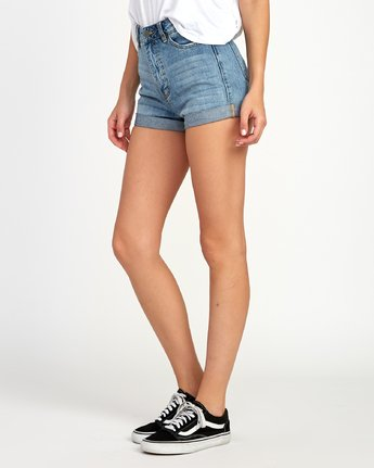 1 Hi Roller High Rise Denim Short Blue W201TRRO RVCA
