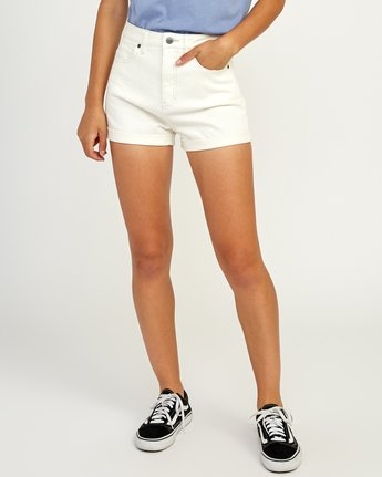 0 Hi Roller High Rise Denim Short White W201TRRO RVCA