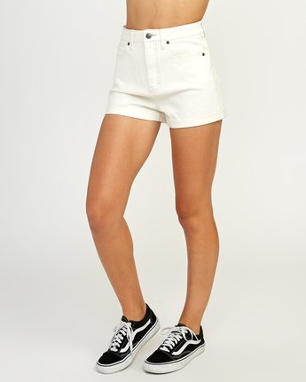 2 Hi Roller High Rise Denim Short White W201TRRO RVCA