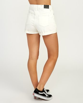 4 Hi Roller High Rise Denim Short White W201TRRO RVCA