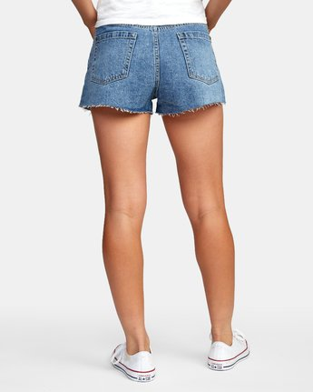 3 Georgie High Rise Denim Shorts Grey W201VRGE RVCA