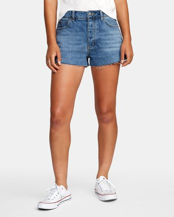 0 Georgie High Rise Denim Shorts Grey W201VRGE RVCA