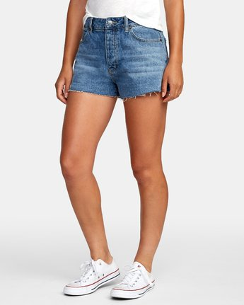 1 Georgie High Rise Denim Shorts Grey W201VRGE RVCA