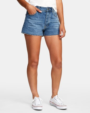 2 Georgie High Rise Denim Shorts Grey W201VRGE RVCA