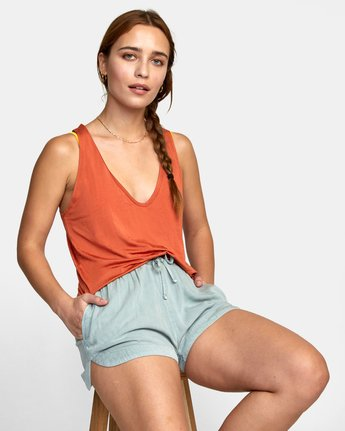 12 NEW YUME ELASTIC SHORT Blue W202PRNY RVCA