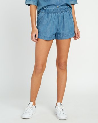 0 Railing Chambray Shorts Blue W202URRA RVCA