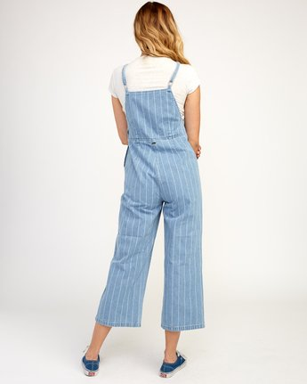 3 Called It Striped Denim Overalls Blue W301TRCA RVCA