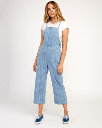 0 Called It Striped Denim Overalls Blue W301TRCA RVCA