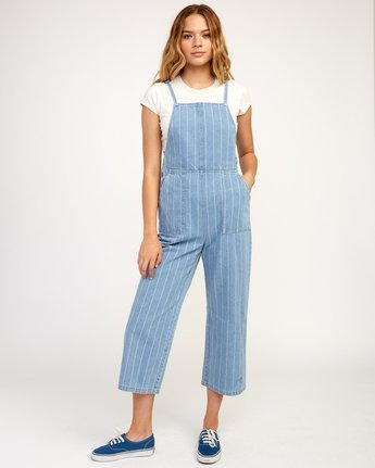 1 Called It Striped Denim Overalls Blue W301TRCA RVCA