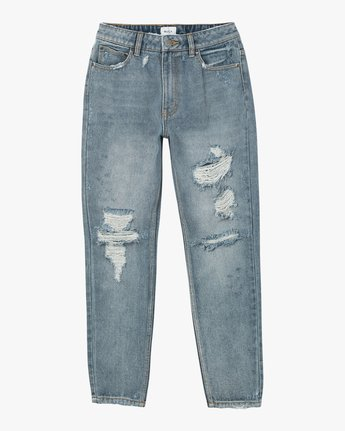 6 Piper High Rise Tapered Denim Jean Blue W302QRPI RVCA