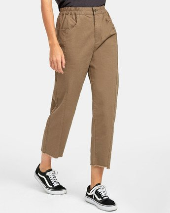 3 OUT GOING HIGH RISE CROPPED TROUSER Green W3031ROG RVCA