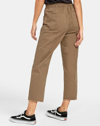 5 OUT GOING HIGH RISE CROPPED TROUSER Green W3031ROG RVCA