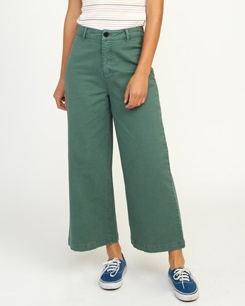 1 Niku High Waist Cropped Trouser Green W303TRNI RVCA