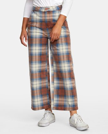 1 Niku Plaid High Rise Trousers Red W306WRNP RVCA