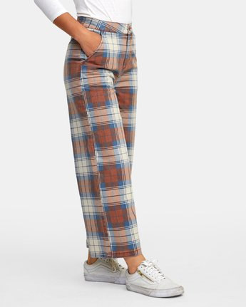 4 Niku Plaid High Rise Trousers Red W306WRNP RVCA