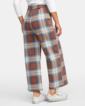 5 Niku Plaid High Rise Trousers Red W306WRNP RVCA