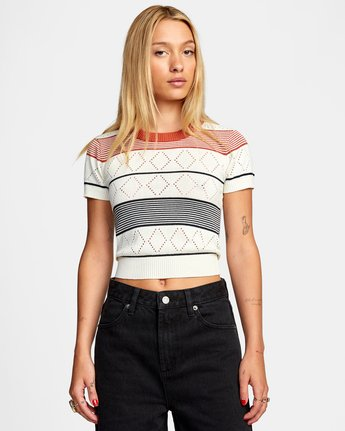 Jasper - Short Sleeve Knitted Top for Women  W3JPRBRVP1