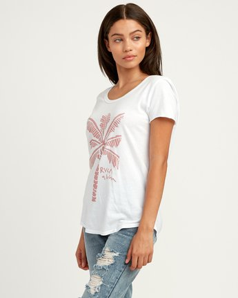 1 Oblow Palm Scoop Neck T-Shirt White W401QROS RVCA