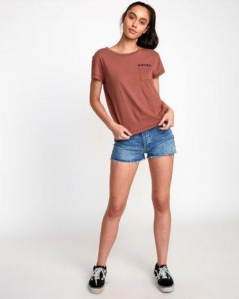 4 Linocut Relaxed T-Shirt Brown W412VRLI RVCA