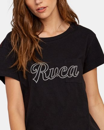 3 Pinscript Pocket T-Shirt Black W412WRPI RVCA
