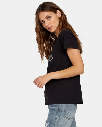 1 Pinscript Pocket T-Shirt Black W412WRPI RVCA