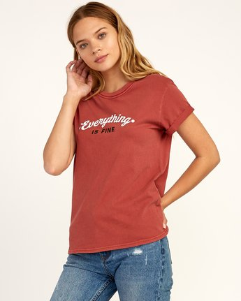 1 Everything Is Fine T-Shirt Red W436TREV RVCA