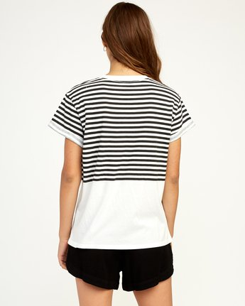 2 House Stripe T-Shirt White W436TRHO RVCA