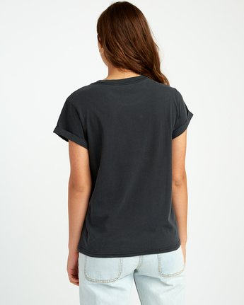 2 Solid Label Cuffed Crew T-Shirt Black W436URLA RVCA