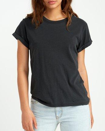 3 Solid Label Cuffed Crew T-Shirt Black W436URLA RVCA