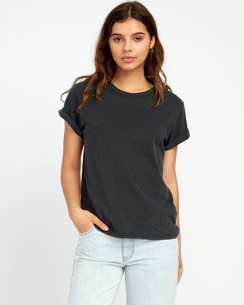1 Solid Label Cuffed Crew T-Shirt Black W436URLA RVCA
