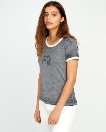2 Archers Burnout Ringer T-Shirt Grey W437URAR RVCA